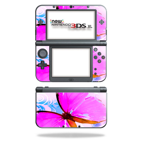 MightySkins Protective Vinyl Skin Decal for New Nintendo 3DS XL (2015) cover wrap sticker skins Pink Butterfly