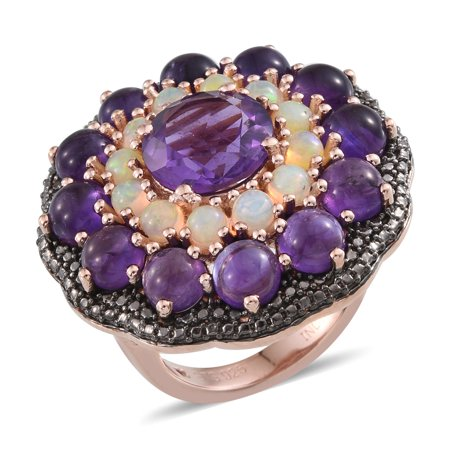 925 Sterling Silver Rose Gold Plated Round Amethyst Multi Gemstone Cluster Dome Ring for Women