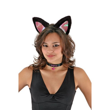 Cat Ears, Collar and Tail (Black/Black) Kid and Adult Costume Kit Unisize (Can Costumes)