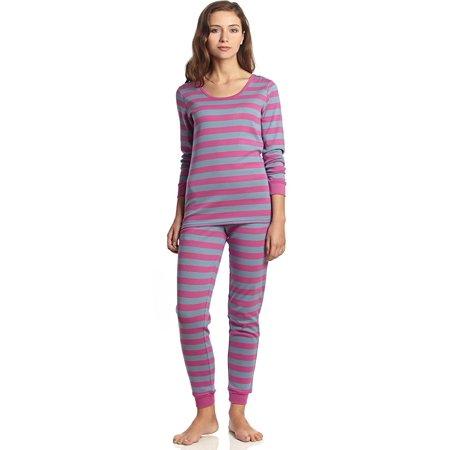 Striped Womens Pajamas - Leveret Women Fitted Striped 2 Piece Pajama Set 100% Cotton (Medium, Purple & Denim)
