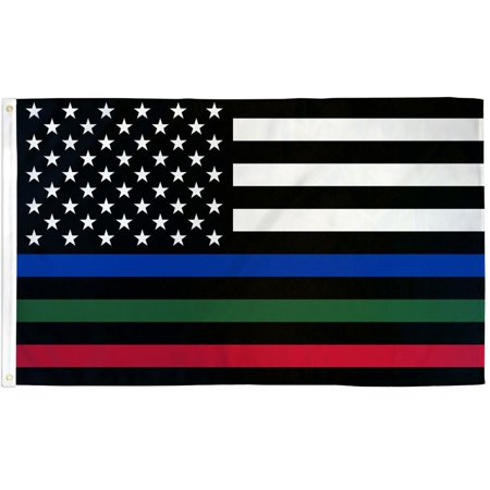 3x5 American Thin Red Green Blue Line USA Flag Police Firefighters Military New - Glow In The Dark Flag