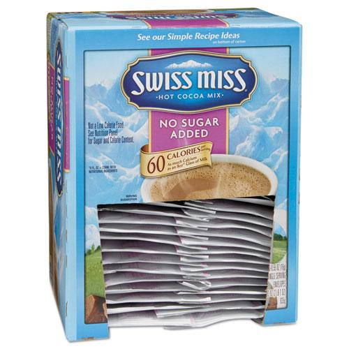 Swiss Miss Hot Cocoa Mix, No Sugar Added, Milk Chocolate, 0.55 oz Packet, 60/Box 55526