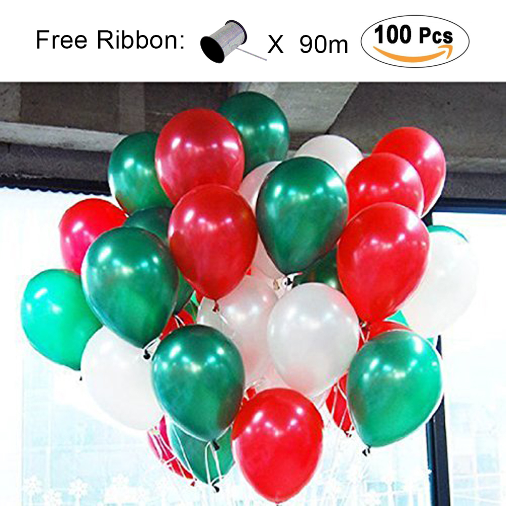 LAttLiv Balloons Christmas Decoration 12 inch Pearl Colour Latex Balloons 100 Packs for Kids Party Supplies Wedding Decoration Baby Shower or Birthday Decoration - Green/White/Red