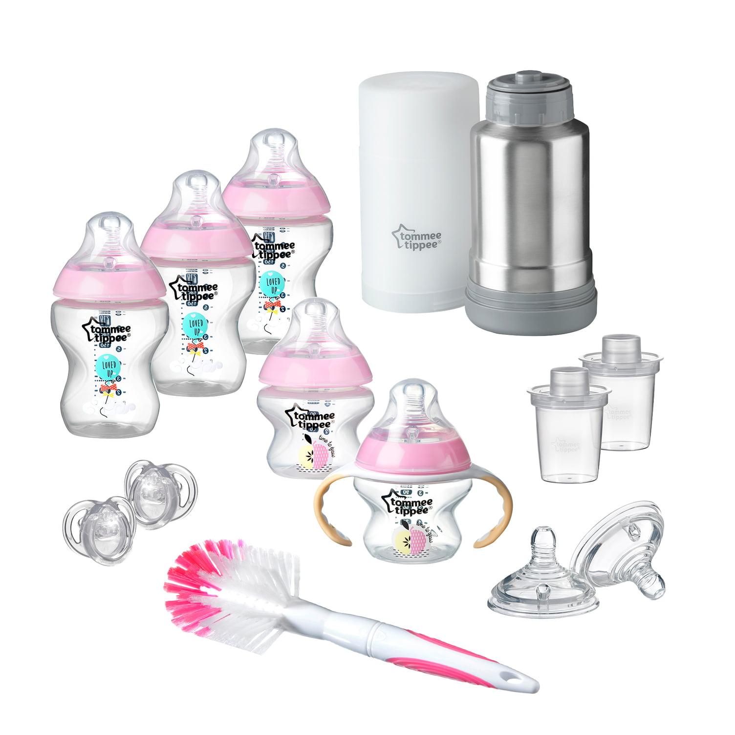 Tommee Tippee Closer to Nature, Newborn Baby Bottle Feeding Starter Set, Pink, Girl
