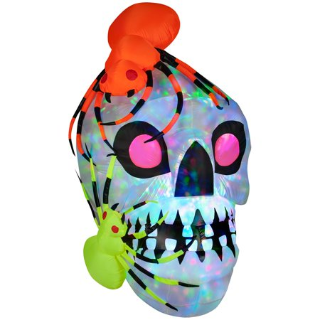 Gemmy Airblown Light Show Skull with Spiders Kaleidoscope Inflatable (Show And Tell Halloween)