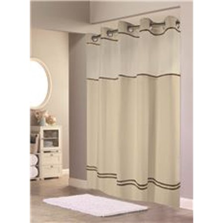Hookless ESCAPE SHOWER CURTAIN WITH SNAP IN LINER SAND W