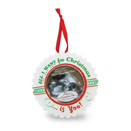Christmas Ultrasound Ornament All I Want For Is You Baby Picture Frame Album Gifts For Women For Her - Ultrasound Photo