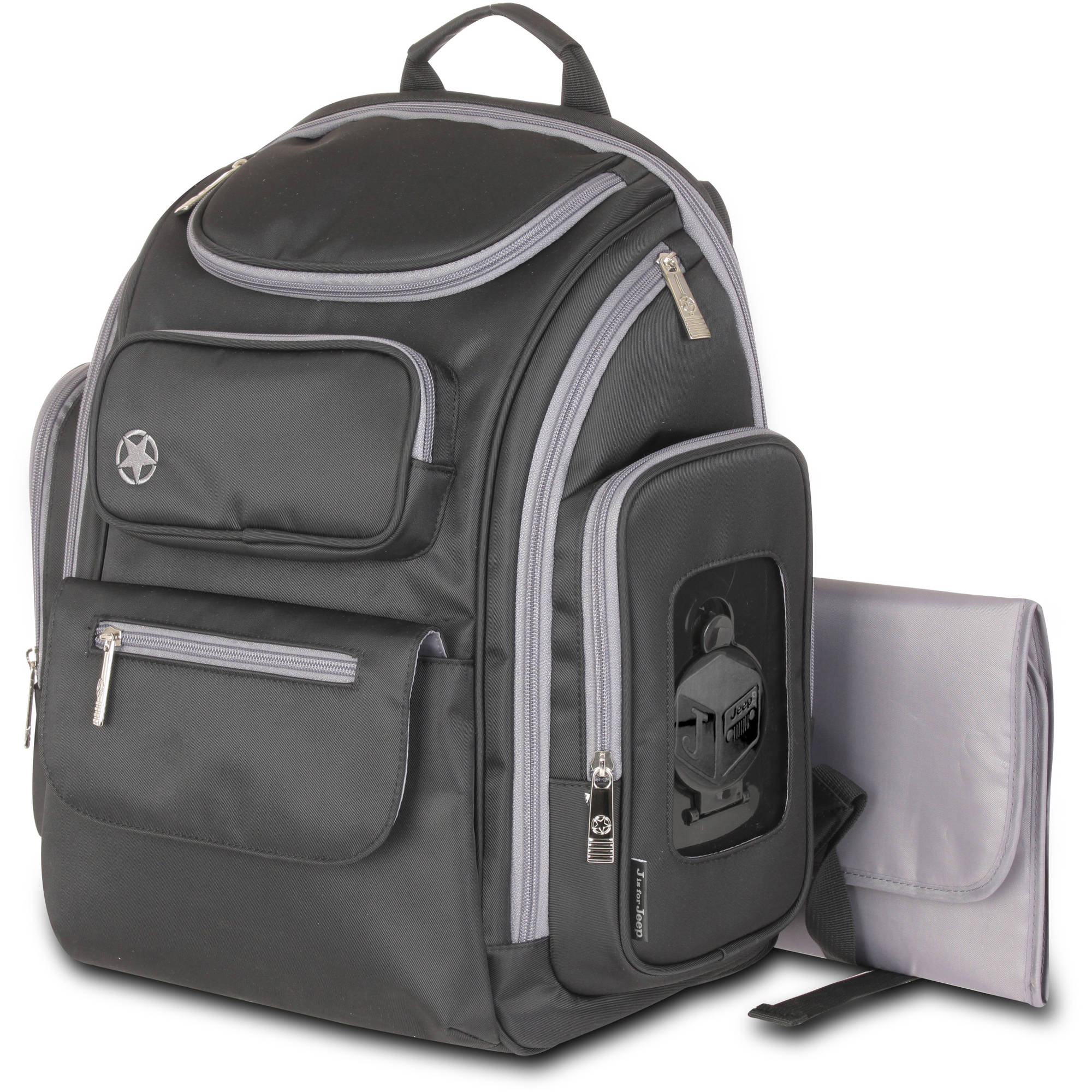 J is for Jeep Perfect Pockets Backpack Diaper Bag, Black/Grey