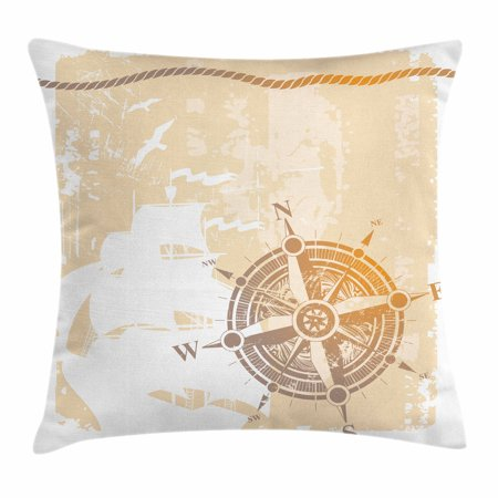 Inspired Rope (Compass Throw Pillow Cushion Cover, Nautical Themed Compass Marine Life Inspired Windrose Ship Rope Background, Decorative Square Accent Pillow Case, 16 X 16 Inches, Sand Brown Marigold, by Ambesonne)