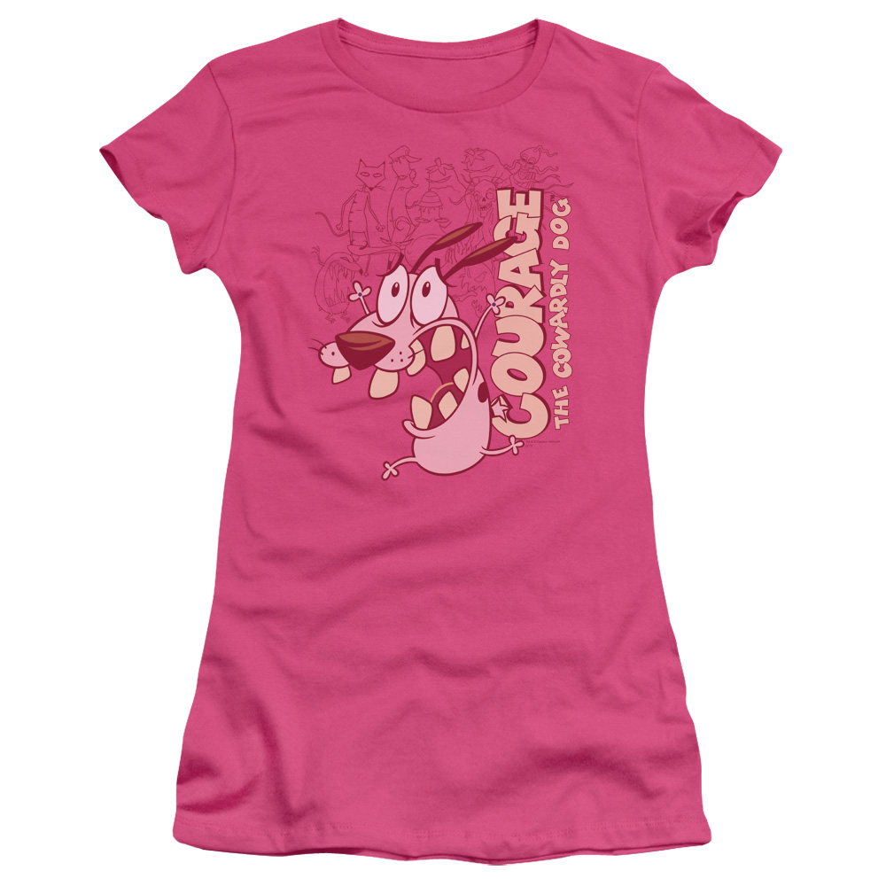 Courage The Cowardly Dog Running Scared Juniors Short Sleeve Shirt