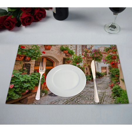 GCKG European Cityscape Placemat, Beautiful Italian Street in Small Provincial Town Placemat 12x18 Inch,Set of