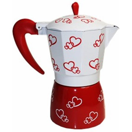 Stovetop Aluminum Coffee Maker. Red Hearts Design. 6 cups
