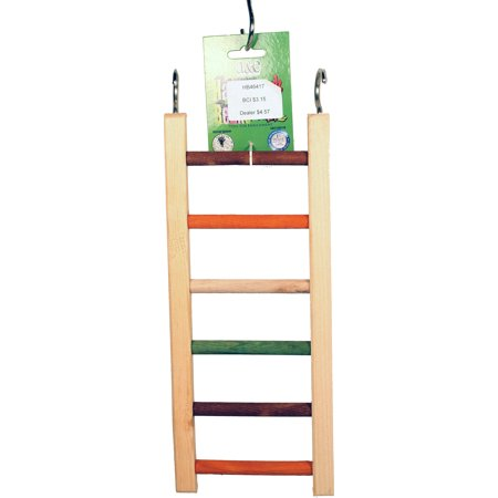 A&e Cage Company-Happy Beaks Wooden Hanging Ladder- Multicolored 14 In