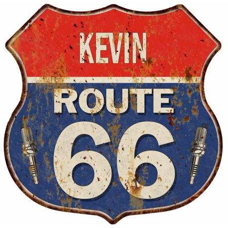 KEVIN Route 66 Personalized Shield Metal Sign Man Cave Gift