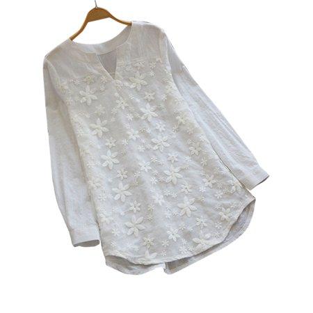Women Plus Size Long Sleeve V-Neck Pullover Top Lace T-Shirt Floral Tunic Blouse Lace Shirt Blouse