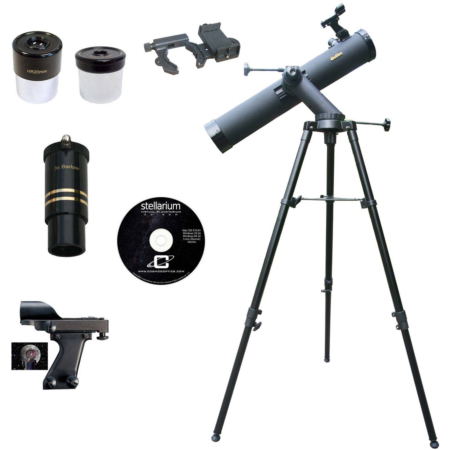 Galileo SS-80090TR 800mm x 90mm Astronomical Reflector Telescope with Smartphone Photo