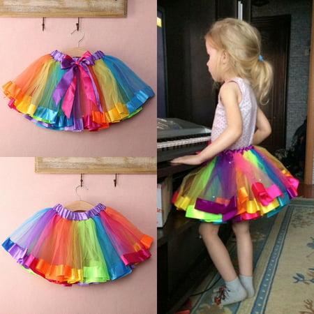 New Kids Girls New Lovely Colorful Tutu Skirt Rainbow Tulle Tutu Mini Dre Size S