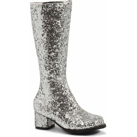 Silver Glitter Gogo Boots Girls' Child Halloween Costume (70's Girl Costume Ideas)