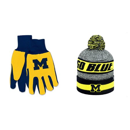 a48bf3ad81f NCAA Michigan Wolverines Cumulus Beanie Hat And Grip Work Glove 2 Pack  Bundle - Walmart.com