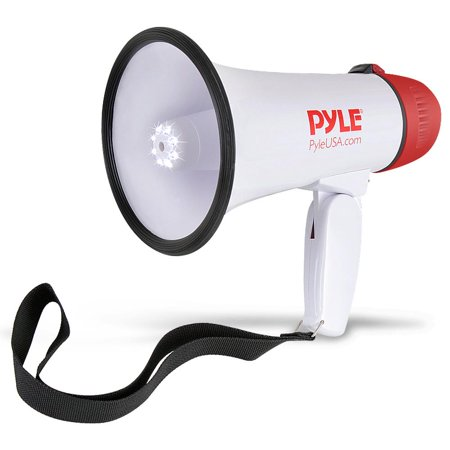 PYLE PMP37LED - Mini Compact Megaphone Bullhorn with Siren Alarm and LED Lights