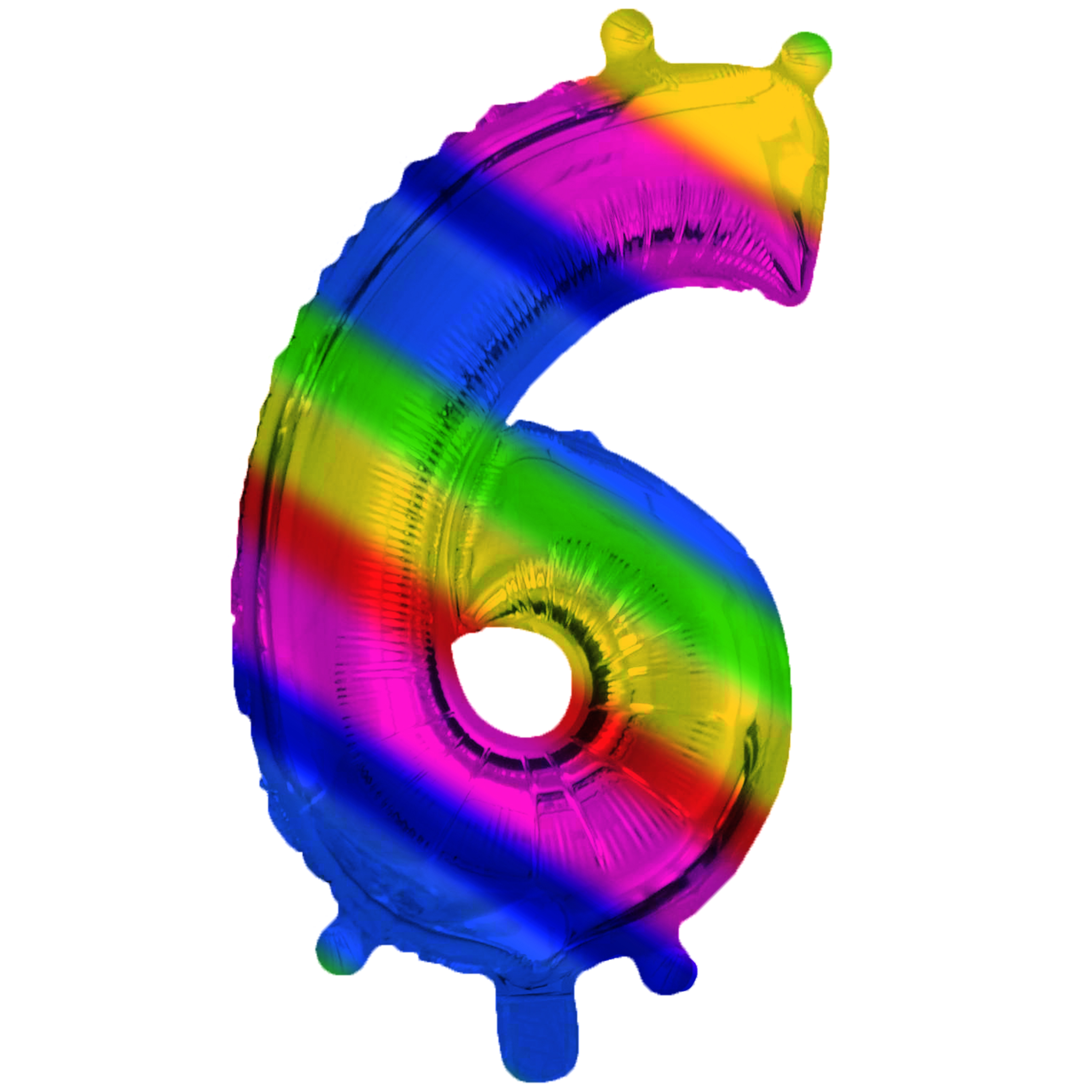 Rainbow Foil 6 Number Air Filled Balloon