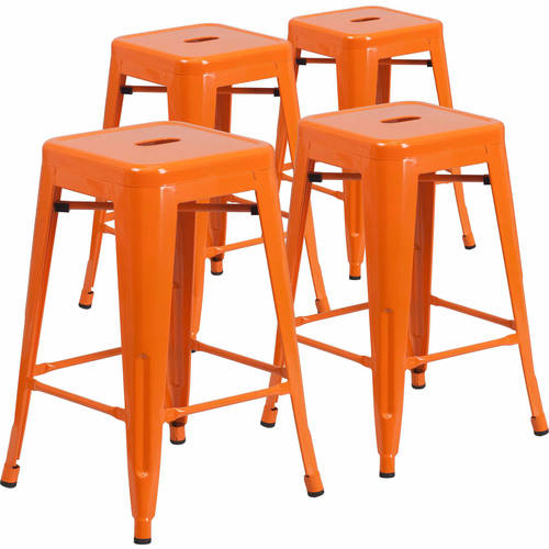 """Flash Furniture 24"""" High Backless Metal Indoor-Outdoor Counter Height Stool with Square Seat, 4 Pack, Multiple Colors"""