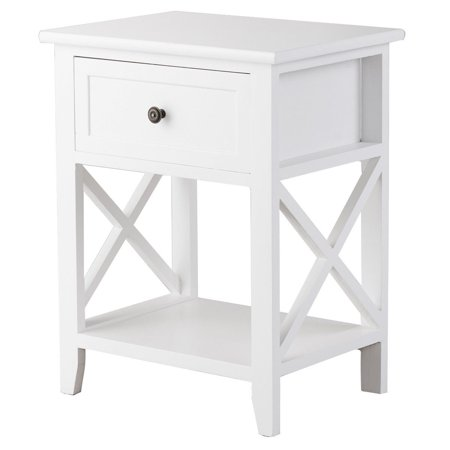 Costway End Bedside Table Nightstand Drawer Storage Room Decor W/Bottom Shelf White (Base End Shelf)
