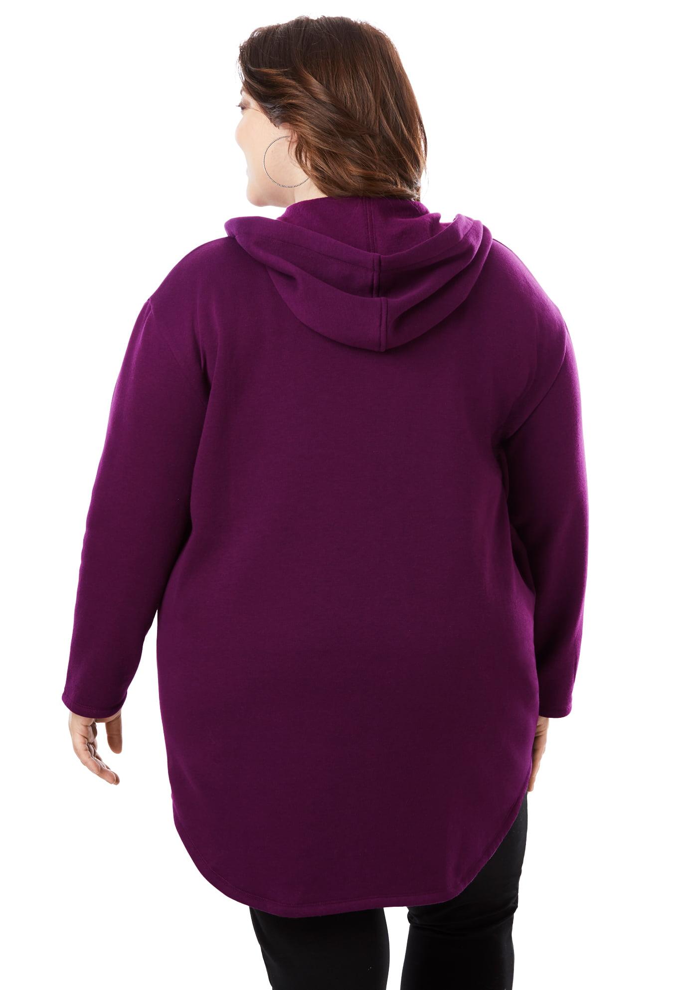 Roamans Womens Plus Size Fleece Zip Hoodie Jacket