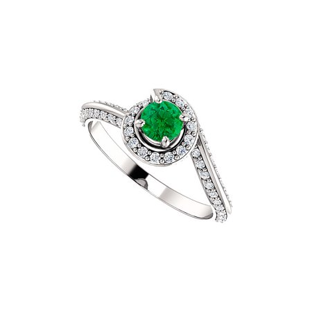 Cool Green Emerald CZ Swirl Halo Ring in 14K White Gold - image 8 de 8