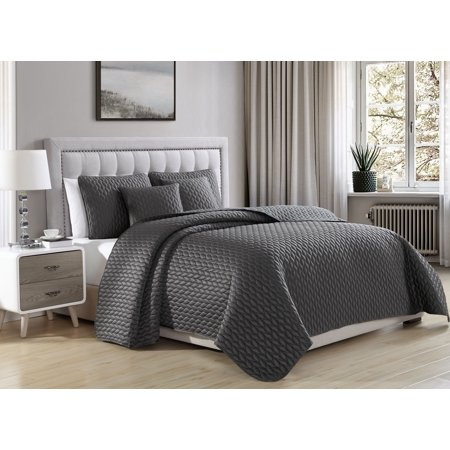 (Cozy Beddings Escape Quilted Coverlet Set Soft Satin Lightweight leaves Pattern | Charcoal Grey)