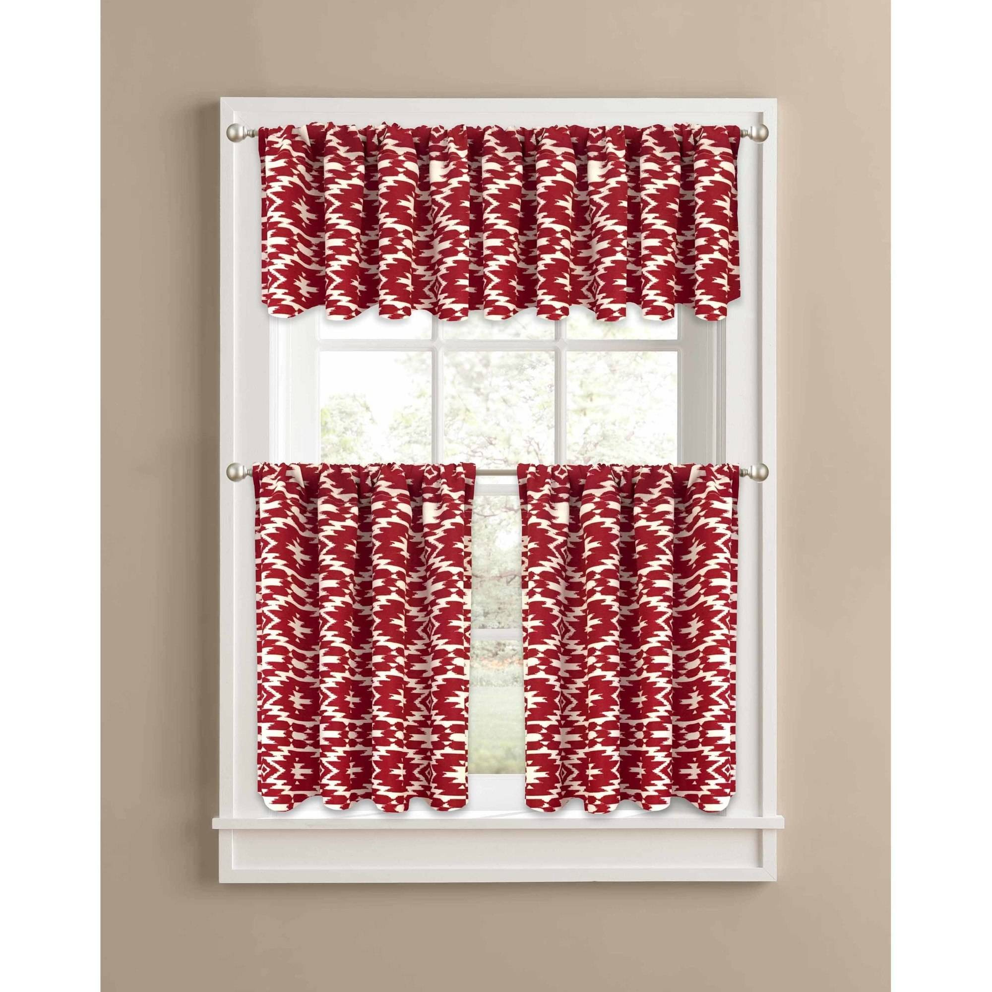 Country Red Kitchen Curtains: Better Homes And Gardens Red Southwest Kitchen Curtains, Set Of 2 Or Valance