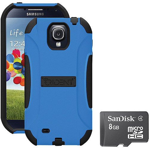 Trident Galaxy S4 Aegis Case with SanDisk Micro SD, Blue