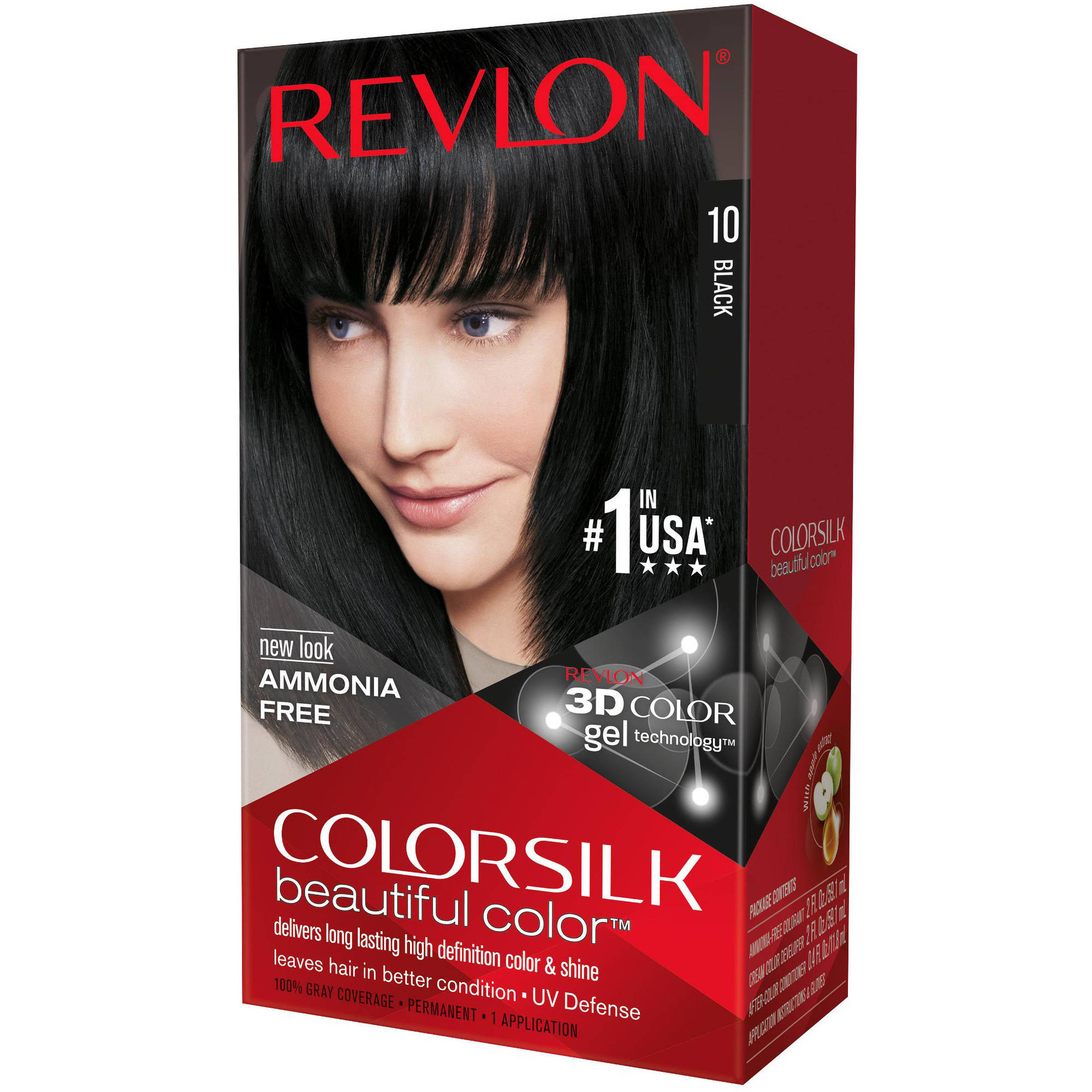 Revlon Colorsilk Beautiful Color Permanent Hair Color, 10 Black