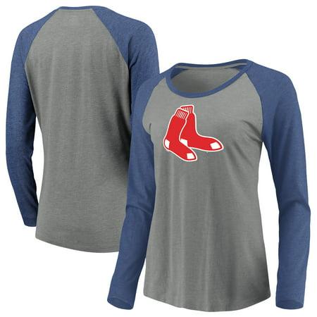 Women's Majestic Heathered Gray/Navy Boston Red Sox Must Win Tri-Blend Raglan Long Sleeve T-Shirt ()