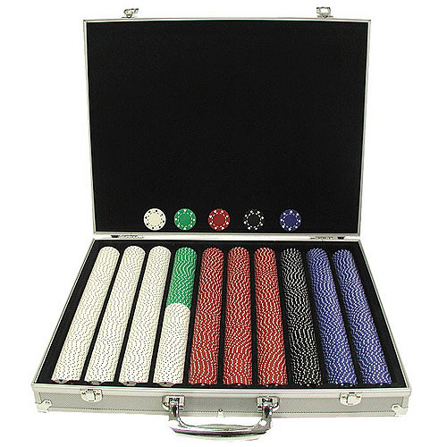 Trademark Poker 1000 11.5 Gram Suited Chips in Silver Aluminum Case