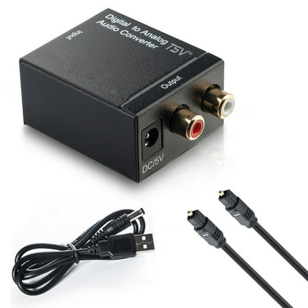 Fiber Cable Digital Optical Coax to Analog RCA L/R Audio Converter