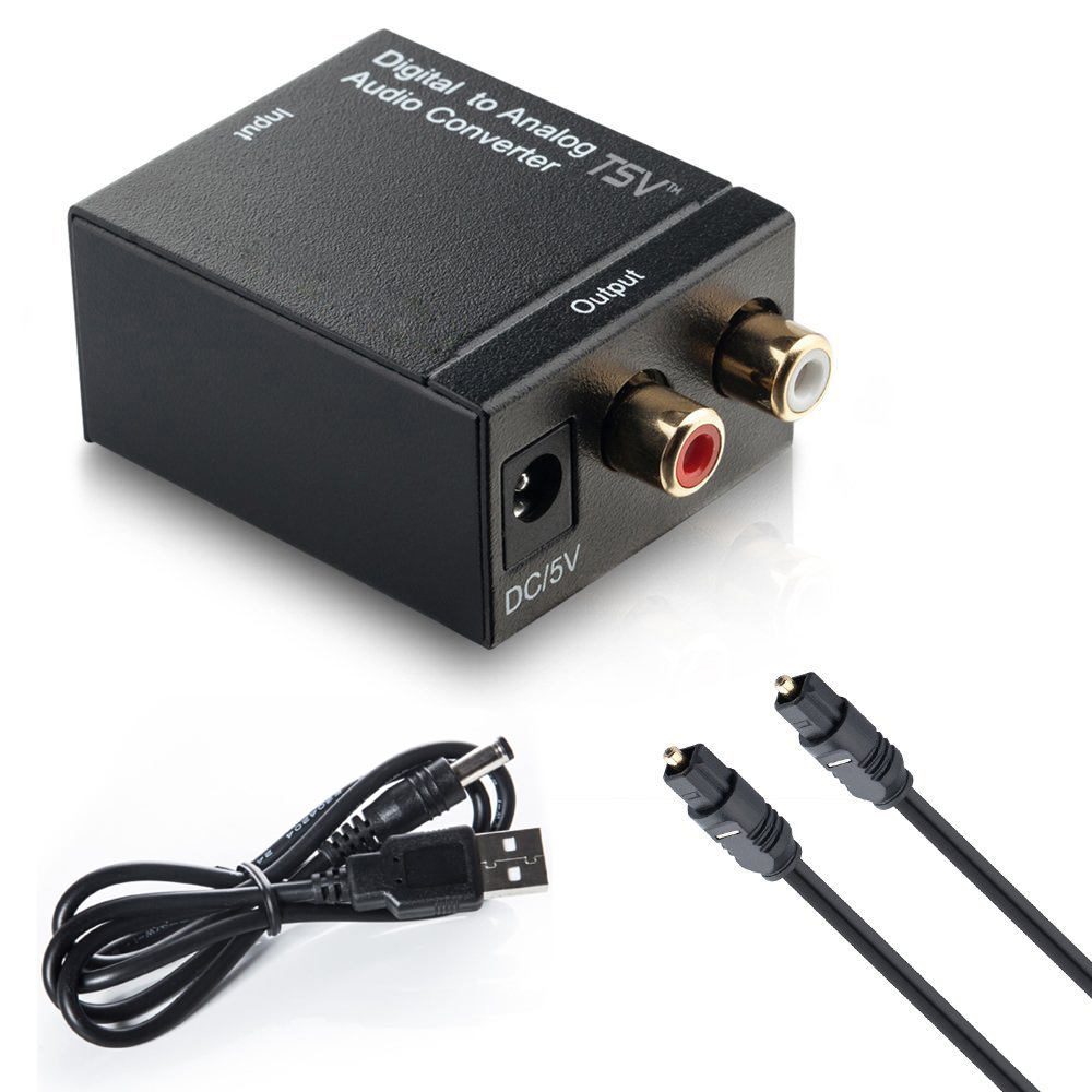 Fiber Cable Digital Optical Coax to Analog RCA L/R Audio Converter Adapter