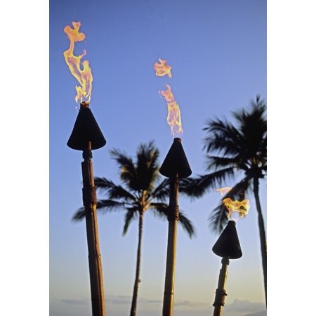 Hawaii Tiki Torches Lit At Dusk Palm Trees And Blue Sky PosterPrint