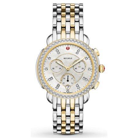 Michele Sidney 117 Diamonds Chronograph Two Tone Women's Watch (Band Diamond Chronograph Watch)