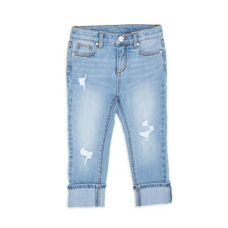 Wonder Nation Baby Girls & Toddler Girls Destructed Skinny Jeans (12M-5T)