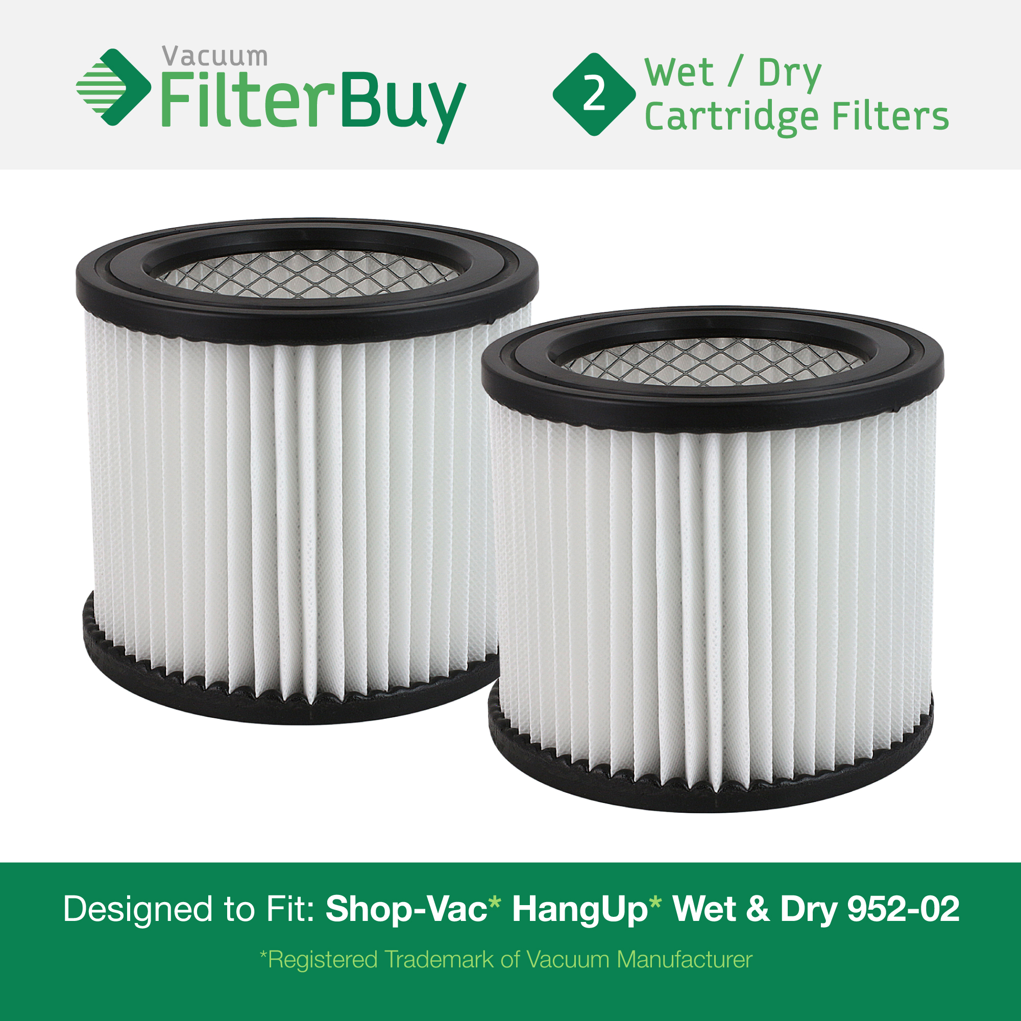 2 - Shop-Vac 9039800, 903-98-00, 90398 Vacuum Cleaner Filters. Designed by FilterBuy to fit Shop-Vac H87S550A, 587-24-62, E87S450, 587-04-00, 286-00-10, 962-15-00, 394-20-00, 394-20-00, and SP650C.