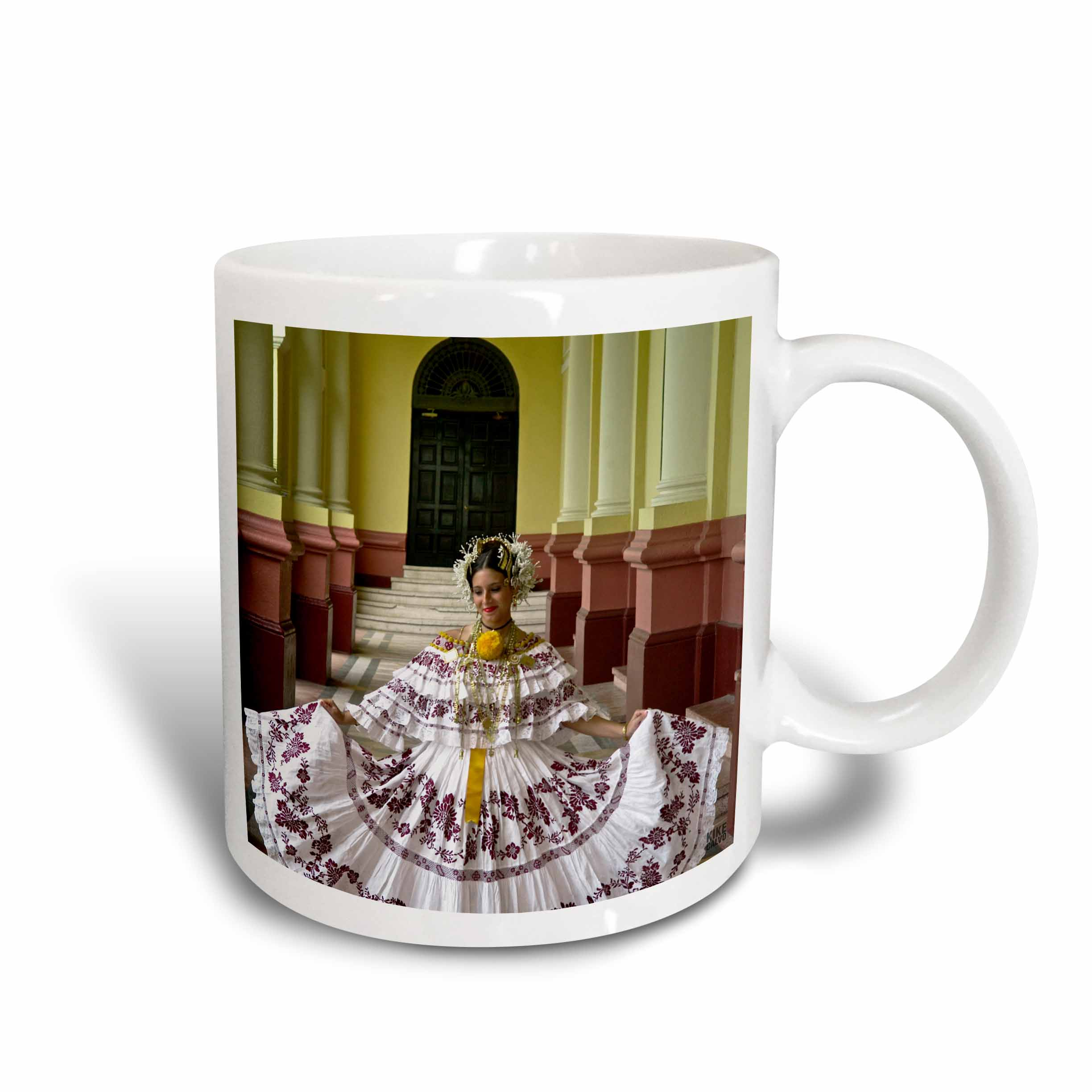 bd823d890 3dRose Panamanian woman in her twenties dressed up with the traditional  Pollera, Ceramic Mug, 11-ounce