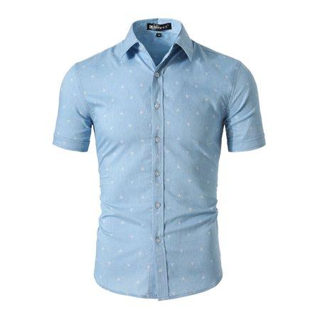 Palms Button - Unique Bargains Men's Coconut Palm Summer Cotton Button Down Short Sleeve Shirt