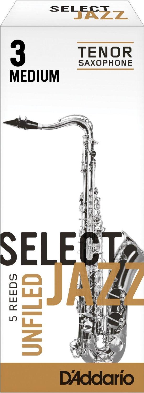 Daddario Select Jazz Unfiled Bb Tenor Sax Reeds 5ct, 3 Medium Strength by Rico