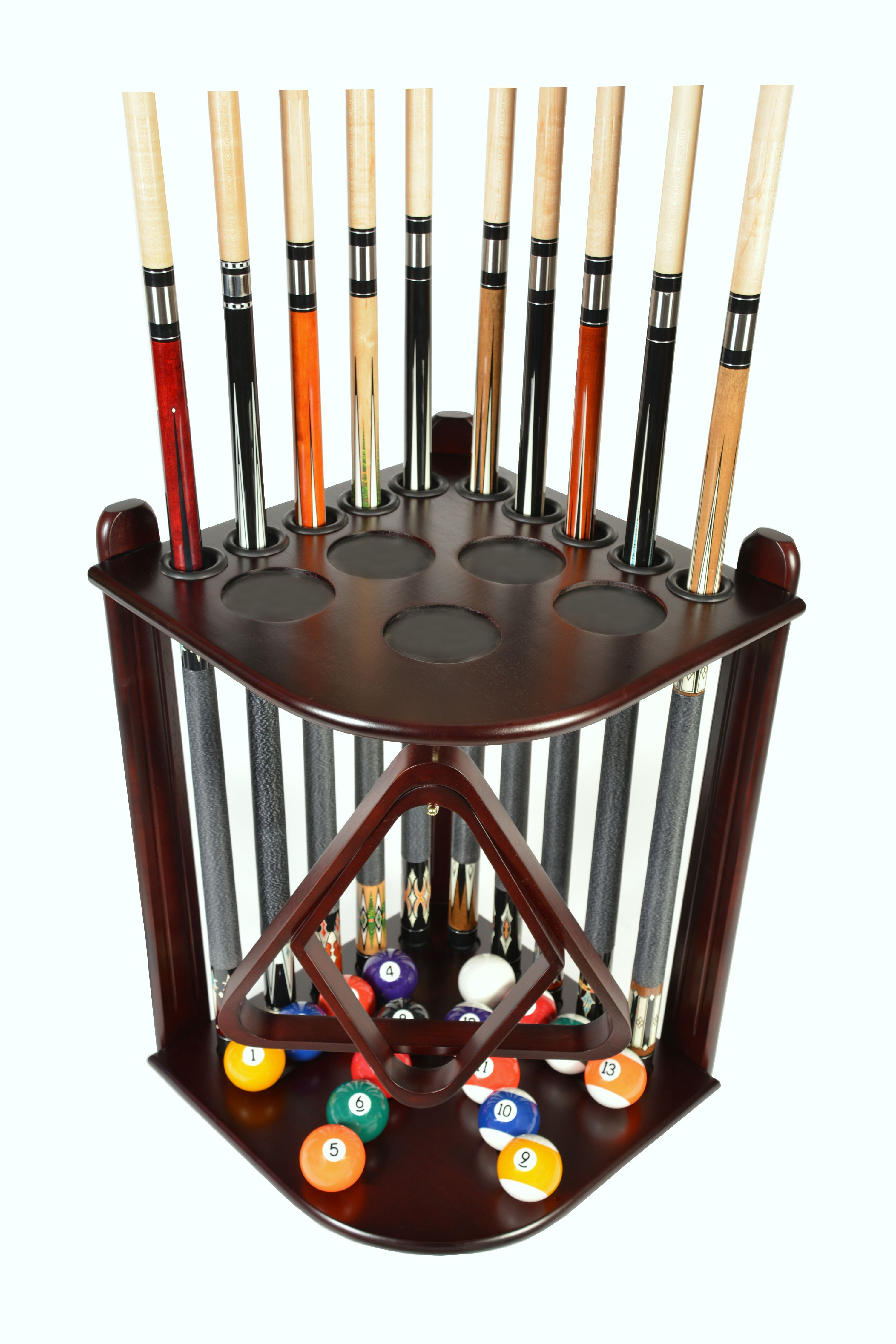 Pool Cue Rack Only   10 Billiard Stick And Ball Floor Rack   Holder  Mahogany Finish