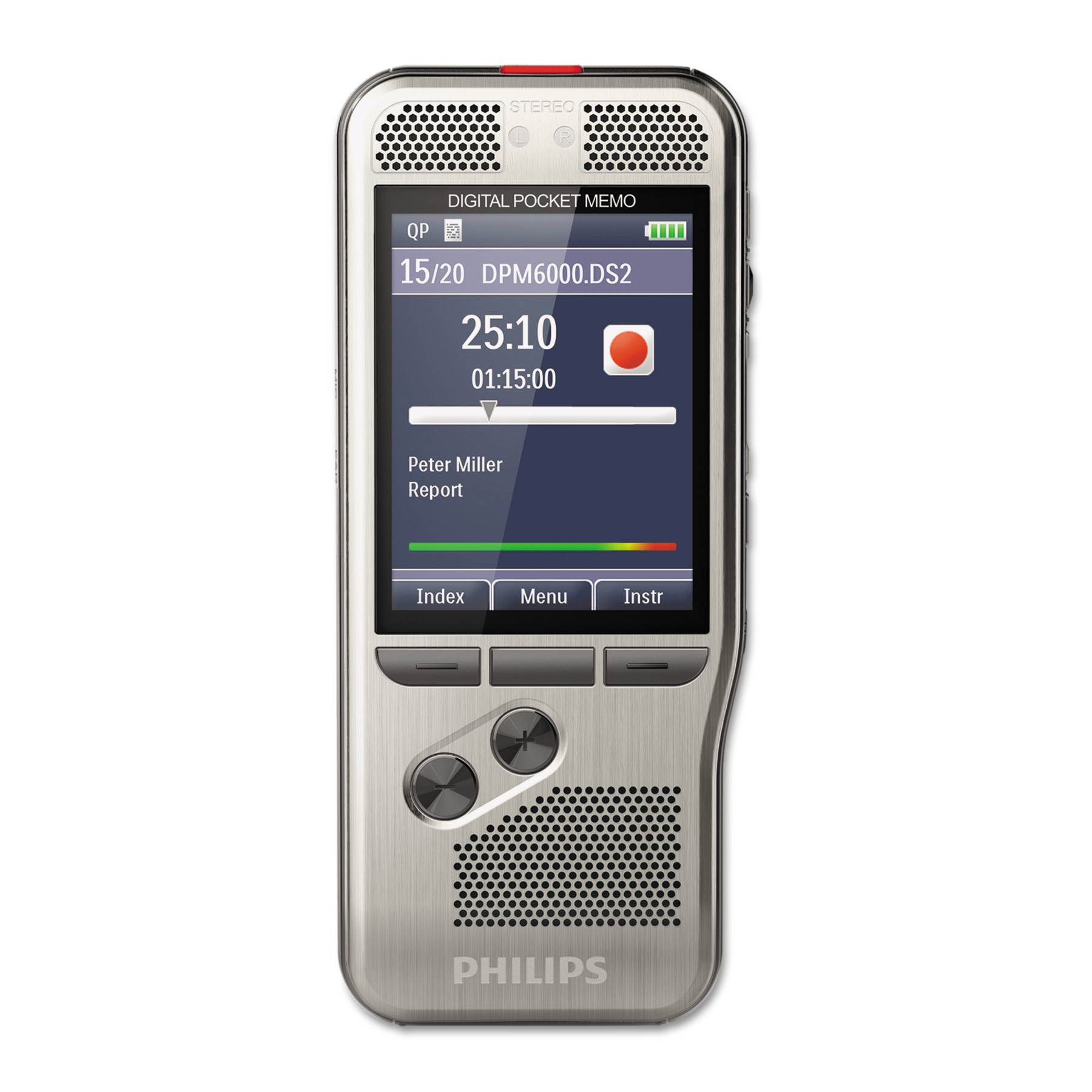 Philips Pocket Memo 6000 Digital Recorder with Push Button Operation, 4 GB Memory