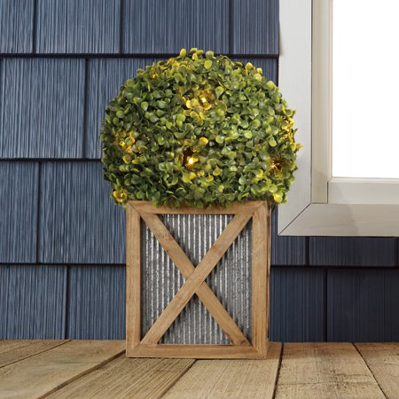 Better Homes & Gardens 17 inch Solar Powered Boxwood Topiary Plant