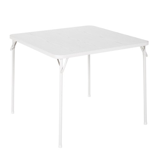 "COSCO 34"" Square Textured Wood Grain Resin Top Folding Table, Woodgrain White by Cosco"