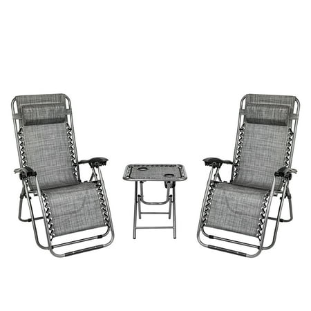 3 PCS Zero Gravity Chair, Lightweight Patio Chaise Lounge Chairs with Padded Headrest, Folding Lounge Table Chair Set with 2 Cup Holders, Outdoor Yard Pool Beach Recliner, Capacity of 350lbs, Q1594