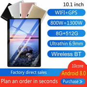 10.1inch 8G+512G WiFi Tablet Android 8.0 HD 1960 x 1080 Bluetooth Game Tablet Computer With Dual Camera Support Dual SIM Card And Dual Standby Gold